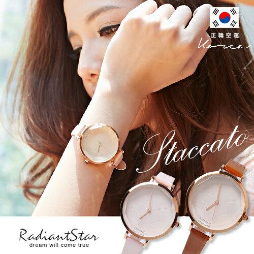 正韓 STACCATO 玫瑰金多邊形菱形切角超美感約會手錶【WSA283】☆璀璨之星