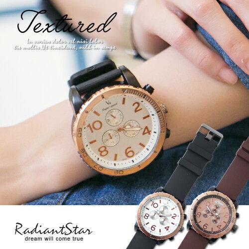 韓國隨興風潮個性印象特大錶面輪胎橡膠錶【WV60166】璀璨之星☆