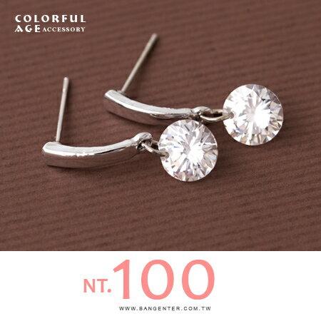 耳針耳環 甜美優雅 直線垂墜閃耀水鑽造型 精緻小品 柒彩年代【ND314】一對價格 - 限時優惠好康折扣