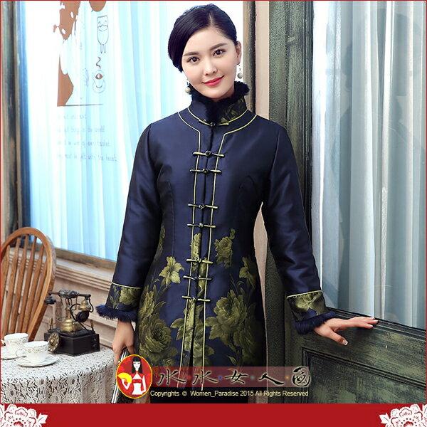 【水水女人國】~秋冬時尚中國風美穿在身~溫暖上市金嵐。輕奢毛毛領古典印花鋪棉唐裝中長外套