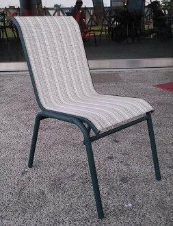 《Chair Empire》S03001 鐵製紗網椅 海灘椅 戶外休閒椅 游泳池邊椅 綠白條紋