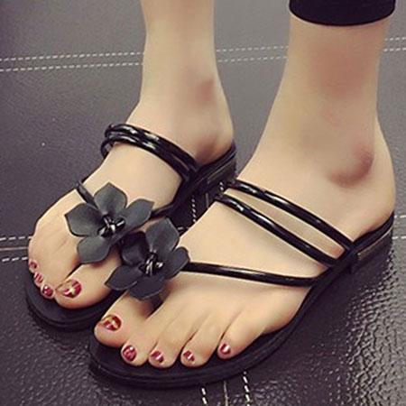 拖鞋 甜美花朵漆皮羅馬夾腳拖鞋【S1651】☆雙兒網☆ 2