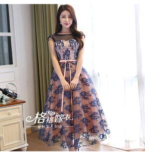 天使嫁衣【XQ8718】粉藍色網紗包肩露背中長款晚禮服-預購訂製款