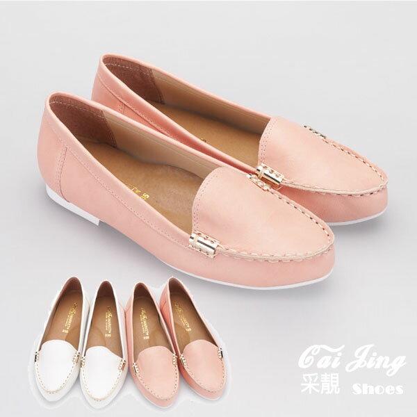 ◆包鞋◆柔嫩色系氣質金扣軟皮低跟平底鞋 女休閒鞋  米白 粉 ~采靚Shoes衣飾~ MI