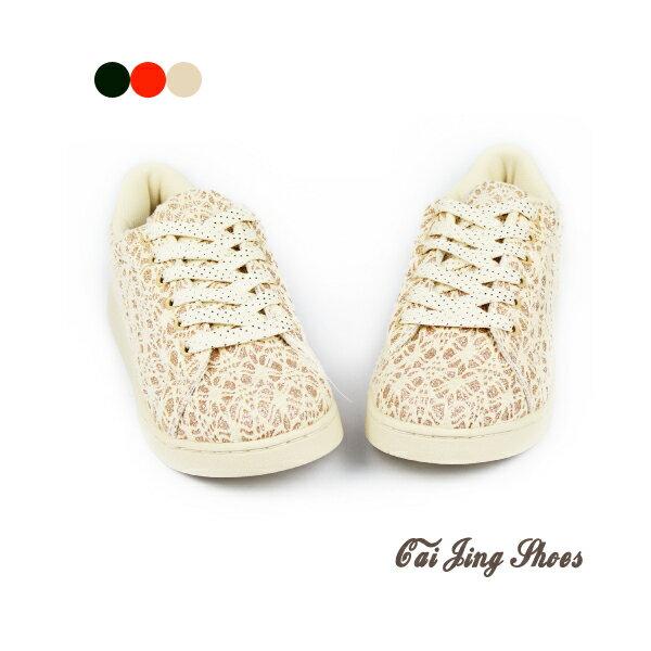 ◆板鞋◆亮粉夢幻蕾絲板鞋- 米色  休閒鞋  ★采靚衣飾精品★MIT 台灣製
