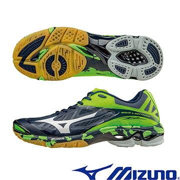 V1GA160006(深藍X白X綠﹞WAVE LIGHTNING Z2 高階輕量排球鞋  A【美津濃MIZUNO】