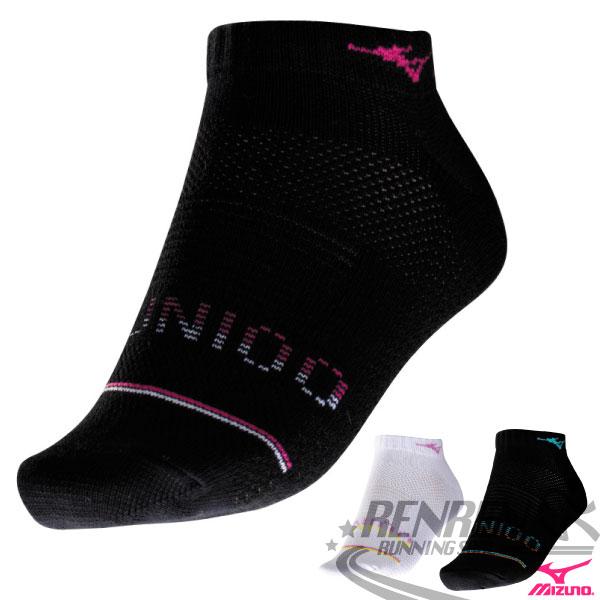 MIZUNO美津濃 女 運動薄底踝襪(黑*桃紅) 運動襪子