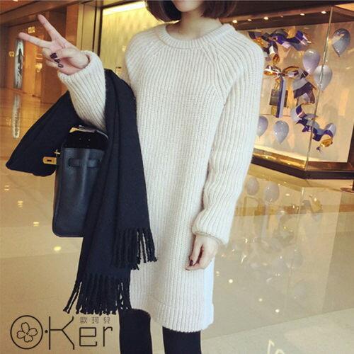 秋冬韓版純色粗針織長版毛衣長版上衣洋裝保暖 O-Ker LL80146