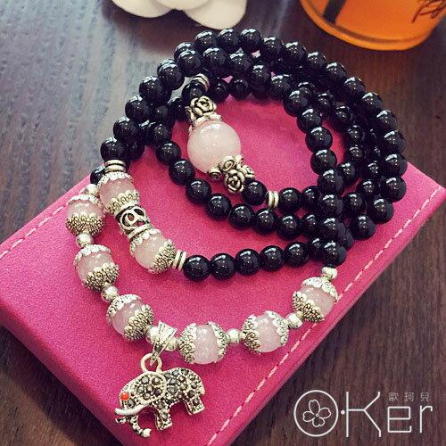 時尚復古小象綴飾天然黑瑪瑙粉經桃花多圈手鍊 O-Ker KAS334