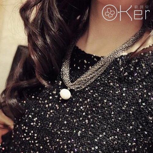 百搭 多層網面珍珠綴飾短項鍊 鎖骨鏈 O~Ker KAX458 ~  好康折扣
