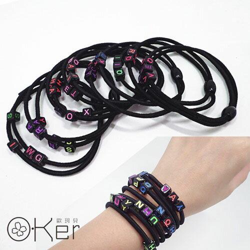 時尚百搭水立方字母雙層髮圈 髮飾手環 O-Ker KAF325