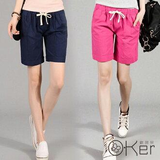 悠遊假期抽繩鬆緊休閒百搭純色口袋棉麻五分褲 大尺碼短褲 O-Ker LL68106