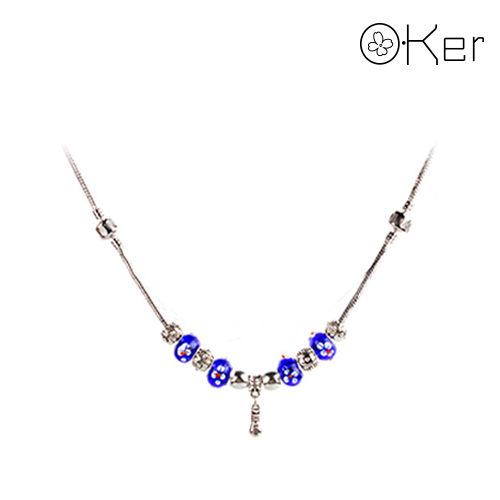 潘朵拉風格時尚琉璃串珠項鍊-藍色-花朵琉璃系列