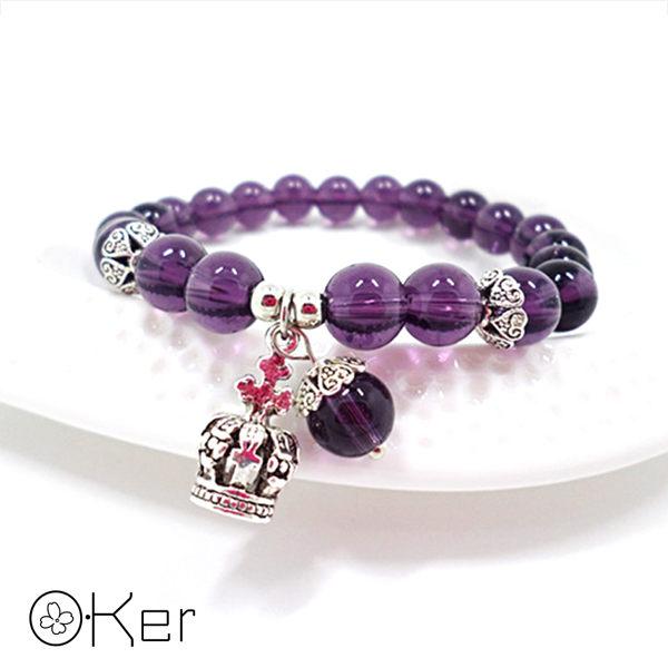 黑瑪瑙皇冠紫水晶手鍊 S409