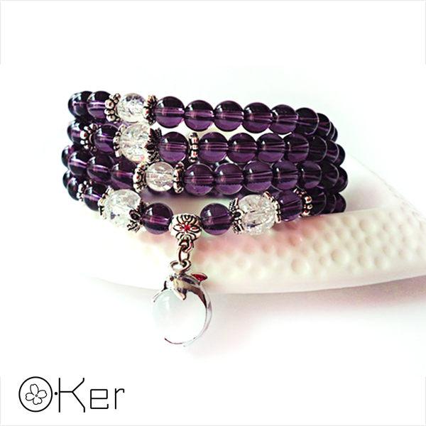 天然紫水晶瑪瑙小海豚貓眼石多層次手鍊