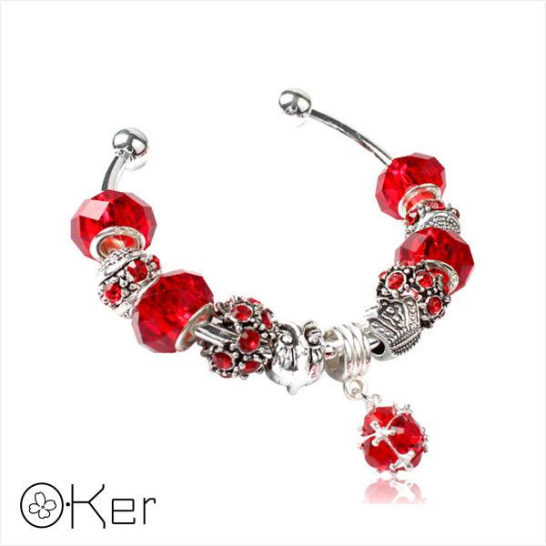潘多拉風格琉璃串珠手環-愛心皇冠系列(紅色)5.5cm