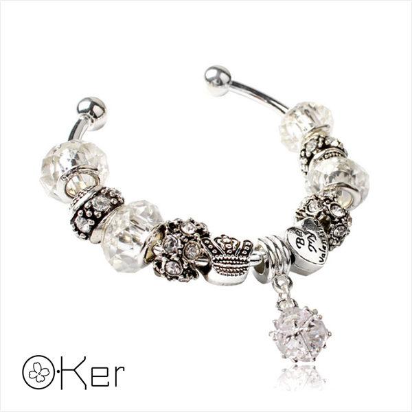 潘多拉風格琉璃串珠手環-愛心皇冠系列(白色)5.5cm