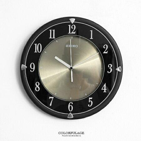 SEIKO精工時鐘 沉穩全黑典雅風 鋁金屬面盤 滑動式秒針靜音掛鐘 柒彩年代【NE1613】原廠公司貨 0