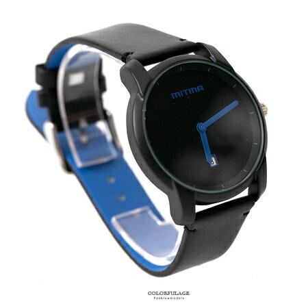 手錶 簡約無秒針設計亮彩指針皮革腕錶 現代都會時尚款 貼心日期窗 柒彩年代【NE1792】單支售價 0