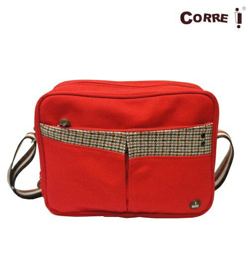 CORRE【CG71069】帆布毛革經典斜背包共四色 紅/藍/橘/咖啡 1