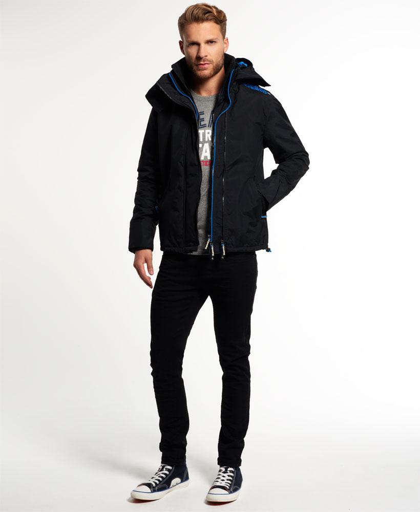 [男款] Outlet英國 極度乾燥 Pop Zip Hooded系列 男款 三層拉鍊 連帽防風衣夾克 黑色/登比藍 2
