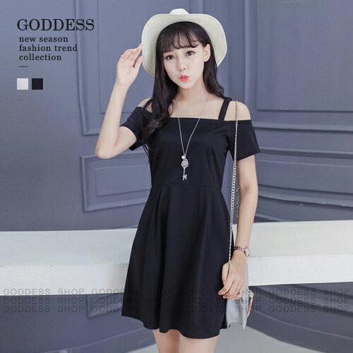 均一價199~嘉蒂斯洋裝 微甜女孩顯瘦高腰露肩細肩帶連身裙~060756~2色