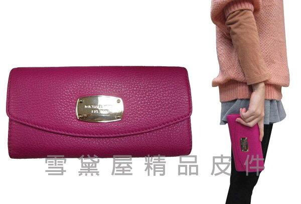 ~雪黛屋~MK 長夾國際正版女用長型皮夾二折暗釦蓋式主袋100%進口牛皮革材質內多隔層大方不折鈔 35T3GJSE7L
