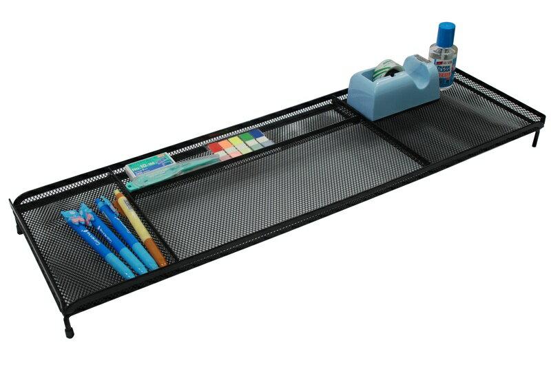 【凱樂絲】電腦桌辦公桌收納架 -4格收納區,可放置手機,筆,POST IT,文具用品 - 黑色網狀設計 2