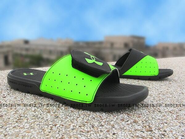 Shoestw【1252531-389】UNDER ARMOUR 拖鞋 魔鬼氈 大LOGO 黑螢光綠 運動拖鞋