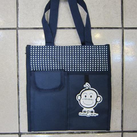 ~雪黛屋~豆豆猴 提袋大容量餐袋小容量才藝袋手提袋簡單袋上學書包以外放置教具品雨衣傘便當袋台灣製造#3608深藍