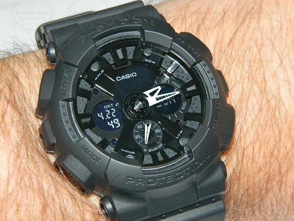 國外代購 CASIO G-SHOCK GA-120BB-1A機車儀表系列 三眼雙顯 防水手錶腕錶電子錶男女錶 霧黑 2