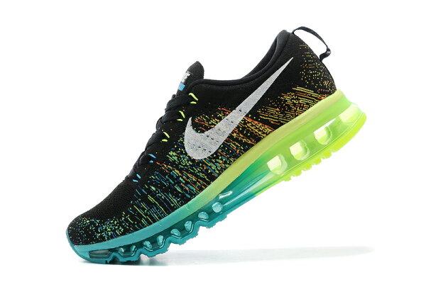Nike air max 全掌彩虹氣墊編織 男生運動休閒鞋 慢跑鞋 黑復活 US 7-11