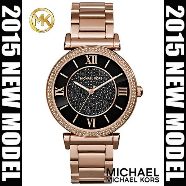 美國Outlet正品代購 MichaelKors MK 復古羅馬滿天星貝殼面鑲鑽黑玫瑰金     手錶 腕錶 MK3356