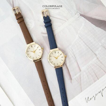 手錶 時尚簡約氣質女孩金殼腕錶 細版緞面皮革錶帶 小資女孩風格 柒彩年代【NE1681】 0