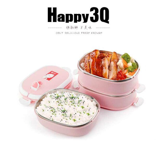 辦公室小學生不銹鋼便當盒方形餐盒兩層三層附提袋送餐具-綠/粉/藍【AAA0440】