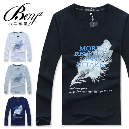 ☆BOY-2☆ 【NZ72005】休閒羽毛印花圓領長袖T恤 0