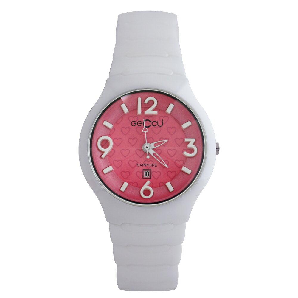 GECCU TC-1115 俏麗可愛心型切玻鏡面白色陶瓷錶帶*4色 3