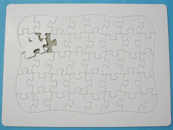 加厚空白拼圖 彩繪拼圖 DIY拼圖(小40片.超厚) 27.8cm x 20.7cm/一袋5個入{定30}