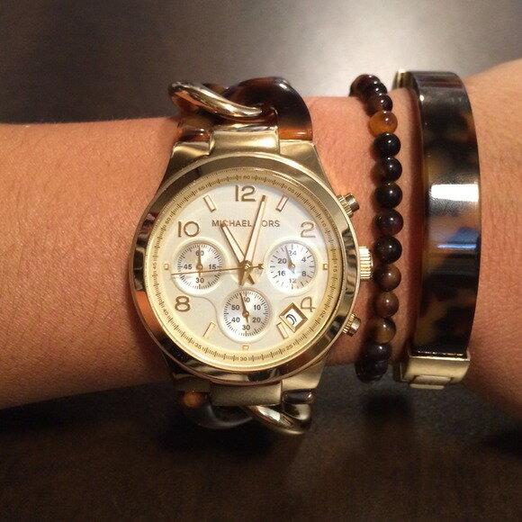 美國Outlet正品代購 MichaelKors MK 玳瑁三環 手鍊 手錶 腕錶 MK4222 6