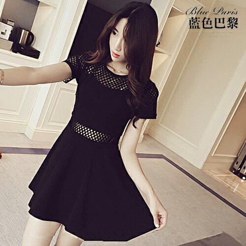 短袖洋裝 - 韓版純色拼接透視網格連身裙【27109】藍色巴黎《黑 / 白》☞ 現貨商品 0