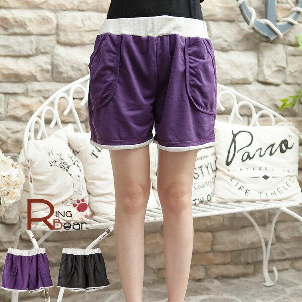 短褲~~巧妙 鬆緊褲頭配色羅紋立體口袋 短褲^(黑.紫M~2L^)~R141眼圈熊中大 ~