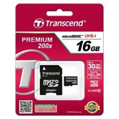 創見 Transcend MicroSDHC 16GB UHS-I Class10 30MB/s 200X記憶卡( 附轉卡) ! [天天3C]