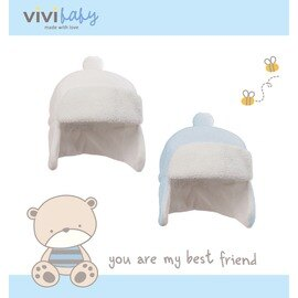ViVi Baby - 絨球遮耳帽 (藍) 0
