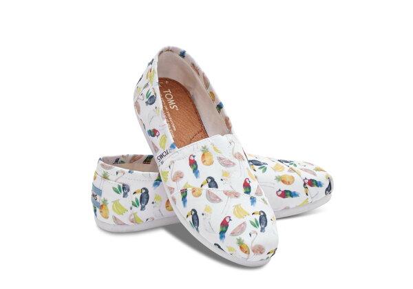 【TOMS】彩繪鸚鵡印花設計休閒鞋  White Canvas Printed Parrots Women's Classics