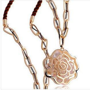 項鍊【心齋橋】韓版新款相遇花季鏤空玫瑰花鑽石毛衣鏈項鍊