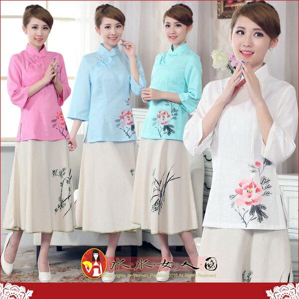【水水女人國】~中國風美穿在身~牡丹紅。古典手繪手工扣棉麻七分袖唐裝上衣。四色