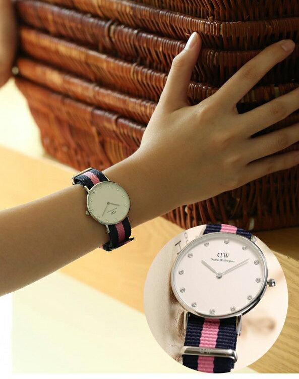 瑞典正品代購 Daniel Wellington 0962DW 銀 玫瑰金 尼龍 帆布錶帶 女錶手錶腕錶 36MM 2