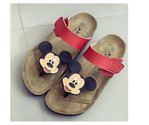夏季防滑軟木拖鞋涼拖鞋女沙灘鞋人字拖可愛卡通米奇鞋