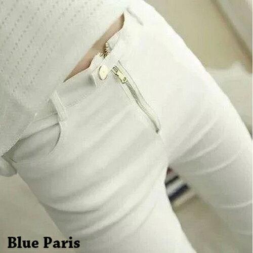 長褲 - 韓版一釦設計顯瘦鉛筆褲【23271】藍色巴黎 - 現貨+預購 0