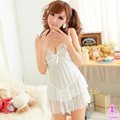 【亞娜絲情趣用品】性感睡衣-水漾芭比!甜美二件式睡襯衣#白